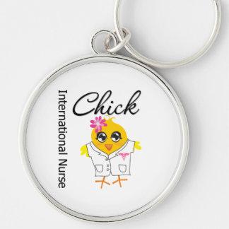 International Nurse Chick v2 Silver-Colored Round Keychain