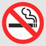 International official symbol no smoking sign round sticker