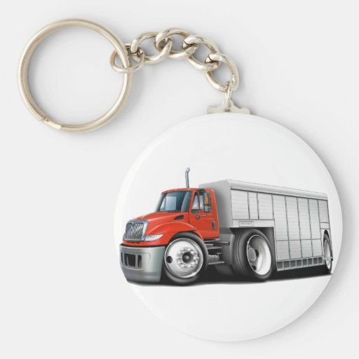 International Red-White Delivery Truck Keychain
