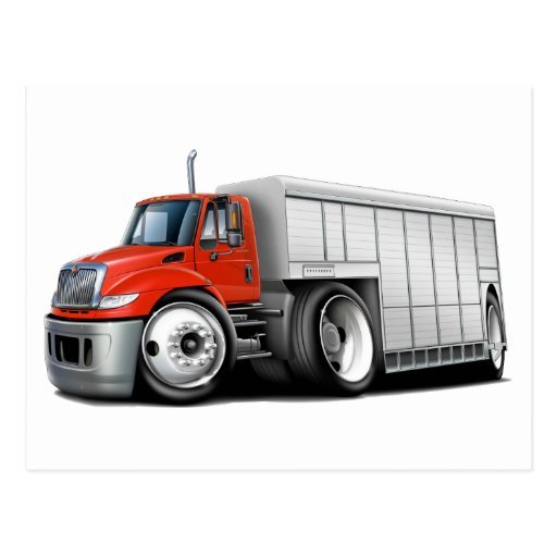 International Red-White Delivery Truck Postcard