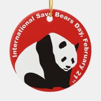 International Save Bears Day  PANDA Ceramic Ornament