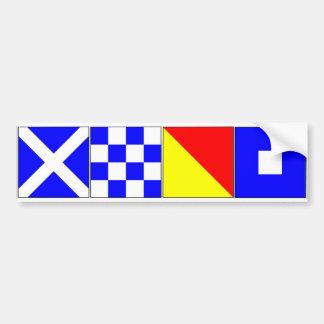 International Signal Flags Letters M, N, O, P Bumper Sticker