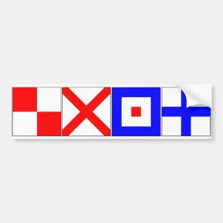 International Signal Flags Letters U, V, W, X Bumper Sticker