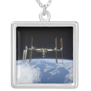 International Space Station 11 Silver Plated Necklace