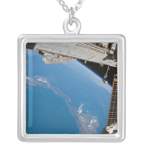 International Space Station 27 Square Pendant Necklace