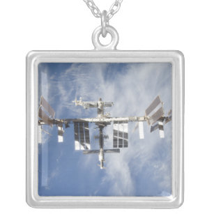 International Space Station 4 Silver Plated Necklace