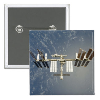 International Space Station backdropped 2 Inch Square Button