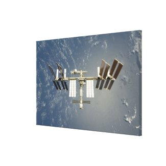 International Space Station backdropped Canvas Print