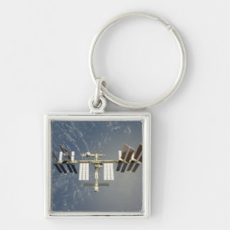 International Space Station backdropped Silver-Colored Square Keychain