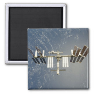 International Space Station backdropped 2 Inch Square Magnet