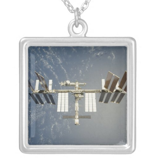 International Space Station backdropped Square Pendant Necklace