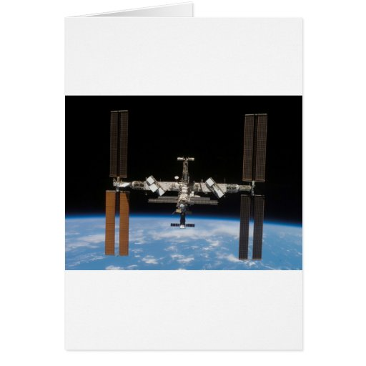 International Space Station -- Seen from Atlantis Greeting Card