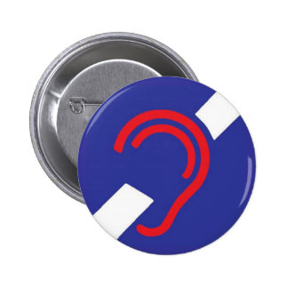 International Symbol for Deaf, Red, White & Blue 2 Inch Round Button