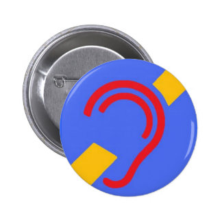 International Symbol for Deaf, Red, Yellow on Blue 2 Inch Round Button