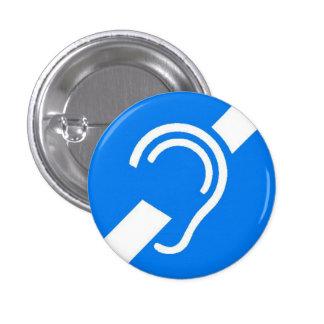 International Symbol for Deaf White on Blue Pinback Buttons