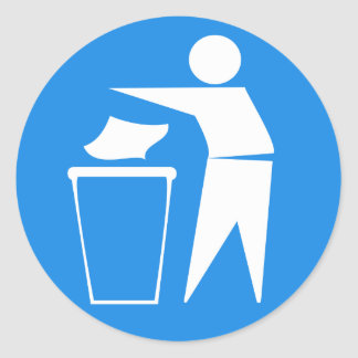 International tidyman (white on blue) round stickers