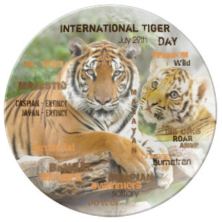 International Tiger Day, July 29, Typography Art Porcelain Plate