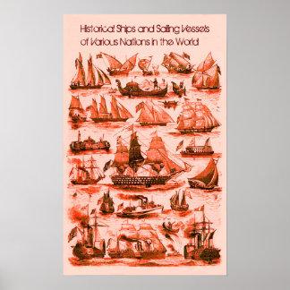 INTERNATIONAL VINTAGE SAILING VESSELS SHIPS,Red Poster