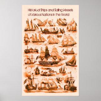 INTERNATIONAL VINTAGE SAILING VESSELS SHIPS,Sepia Poster