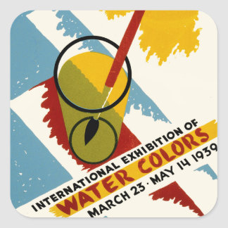 International Water Color Exhibition Square Sticker