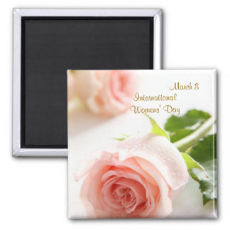 International Womens' Day. White pink rose Magnet