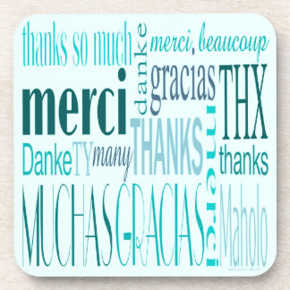 International Words of Thanks Cork-Backed Coasters