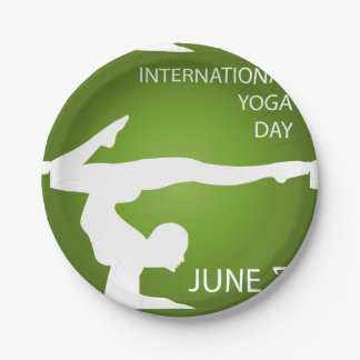 International yoga day june 21 paper plate