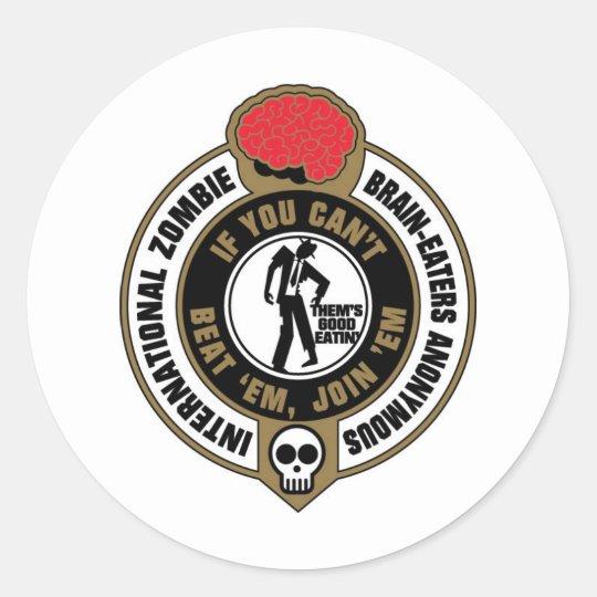 International Zombie Brain-Eaters Anonymous Classic Round Sticker