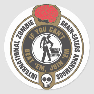 International Zombie Brain-Eaters Anonymous (IZBA) Classic Round Sticker