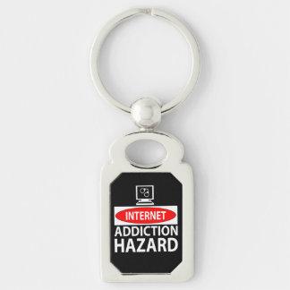 Internet – addiction hazard Silver-Colored rectangular metal keychain