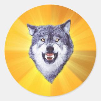 Internet animal Meme del consejo del lobo del Pegatina Redonda