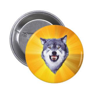 Internet animal Meme del consejo del lobo del valo Pin Redondo 5 Cm