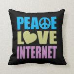 Internet del amor de la paz cojines