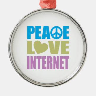 Internet del amor de la paz adorno redondo plateado