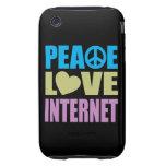 Internet del amor de la paz tough iPhone 3 fundas
