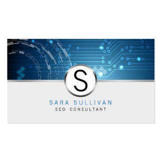 Internet del monograma de los circuitos de tarjetas de visita