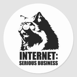 Internet: Negocio serio (camiseta divertida del Pegatina Redonda