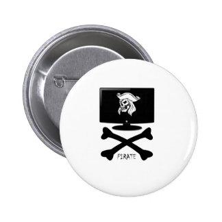 Internet Pirate Skull Shirt 2 Inch Round Button