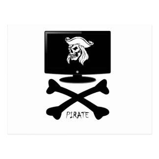 Internet Pirate Skull Shirt Postcard