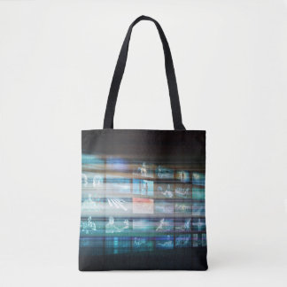 Internet Web Abstract on a Digital Background Tote Bag