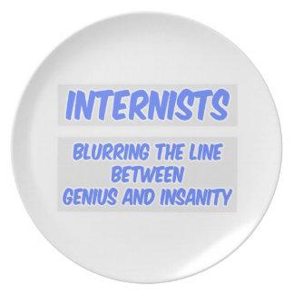 Internist Joke .. Genius and Insanity Dinner Plates