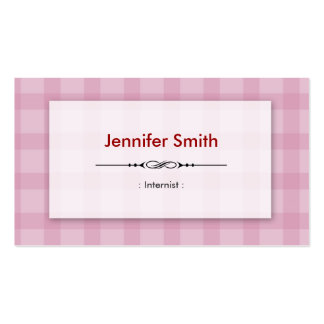 Internist - Pretty Pink Squares Business Card