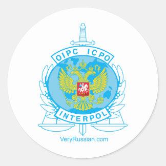 interpol russia badge classic round sticker