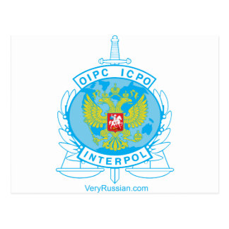 interpol russia badge postcard