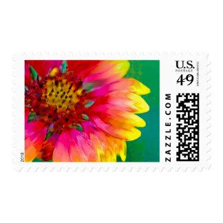 Interpretación artística de la flor combinada sello postal