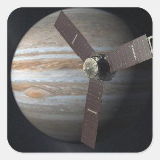 Interpretación del artista de la órbita de JUNO en Calcomania Cuadrada Personalizada