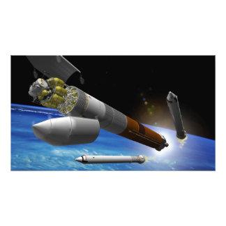 Interpretación del artista de un cohete de la pesa impresion fotografica