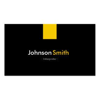 Intérprete - amarillo ambarino moderno tarjetas de visita