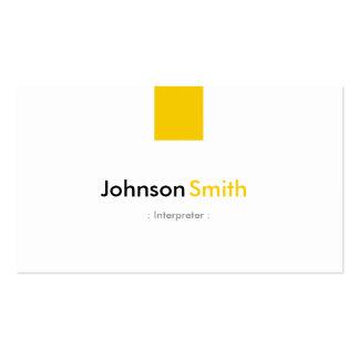 Intérprete - amarillo ambarino simple tarjetas de visita