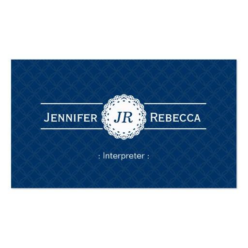 Intérprete - azul moderno del monograma tarjetas de visita